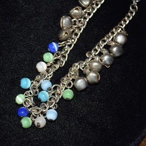Vintage Blue Green Bead Bell Dangle Bracelet